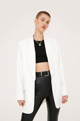 Nasty Gal Womens Shawl Lapel Oversized Shoulder Padded Blazer - White - 6