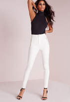 Missguided Highwaisted Zip Detail Skinny Jean White