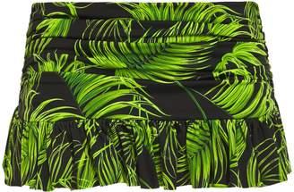 Norma Kamali Ruffled Ruched Printed Mid-rise Bikini Briefs