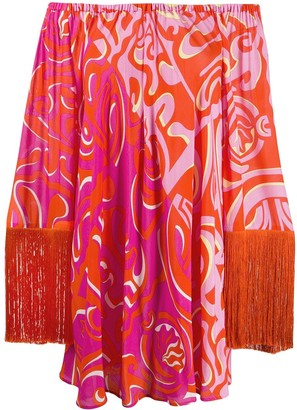 Emilio Pucci Abstract Print Off The Shoulder Dress