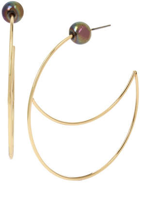 """BCBGeneration Pearl Gold Cut-Out Wire Large Hoop Earrings 2-1/4"""""""