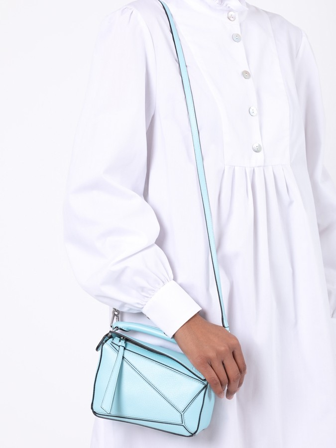 Loewe Leather Mini Puzzle Bag Light Blue