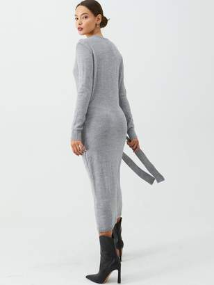 Very Wrap Front Tie Side Knitted Dress - Grey Marl