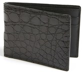 Boconi Men's Crocodile Slimfold Wallet - Black