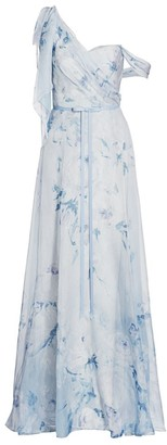 Marchesa One-Shoulder Floral Chiffon Pleated Gown