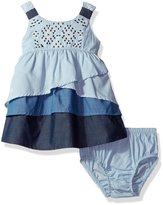 """Kensie Baby Girls' """"Tiered & Shirred"""" Dress with Diaper Cover - , 6-9 months"""
