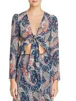 Aqua Paisley Print Tie-Front Cropped Top - 100% Exclusive