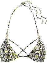L'Agent by Agent Provocateur Mercades Embellished Printed Triangle Bikini Top - Snake print
