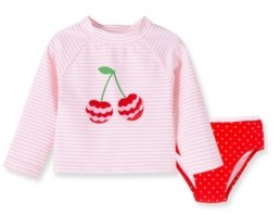 Little Me Baby Girls Cherry 2 piece Long Sleeve Rashguard