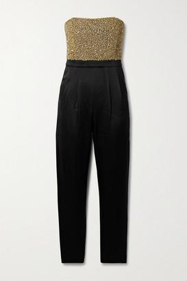 Alice + Olivia Alice Olivia - Jeri Strapless Embellished Duchesse-satin Jumpsuit - Black