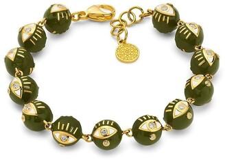 BUDDHA MAMA 20kt Yellow Gold Diamond Eye Bead Bracelet
