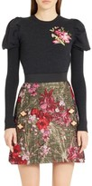 Dolce & Gabbana Women's Embroidered Wool Puff Sleeve Sweater