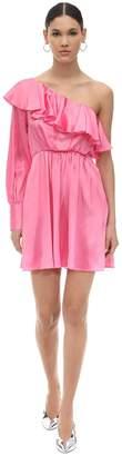 MSGM Pm One Shoulder Ruffled Satin Mini Dress