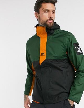 Helly Hansen Yu rain jacket in khaki/orange