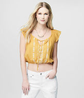 Aeropostale Womens Cape Juby Embroidered Ruffle Cropped Peasant Top