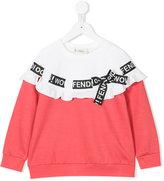 Fendi ribbon trim ruffled sweatshirt - kids - Polyamide/Spandex/Elastane/Viscose - 3 yrs