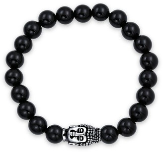 Bling Jewelry Buddha Black Onyx Bead Strand Stretch Beads Bracelet Silver Plated