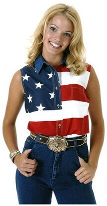 Roper Women's S/L Stars and Stripes Pieced Flag Red 3 Button-up Shirt LG