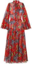 Dolce & Gabbana Printed Silk-chiffon Jumpsuit - Red