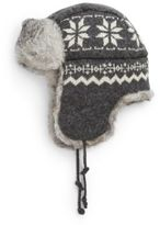Crown Cap Snowflake Rabbit Fur Aviator Hat