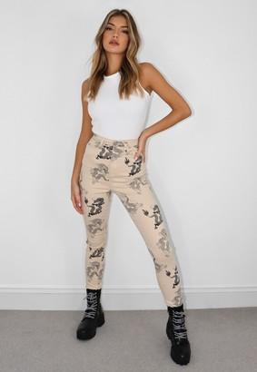 Missguided Ecru Denim Dragon Print Split Hem Jeans