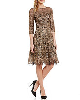 Kay Unger Metallic Lace Fit-and-Flare 3/4 Sleeve Dress