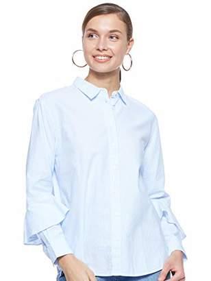 Tommy Hilfiger Women's Pames Frill Blouse Ls Blouse, Multicolour (Ithaca STP/Heather 417), (Manufacturer Size: 10)