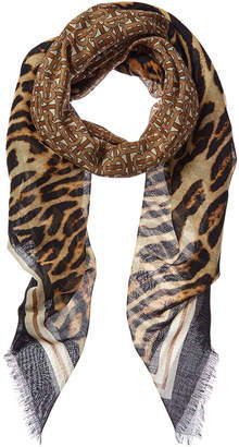 Burberry Monogram Print Wool & Silk-Blend Scarf