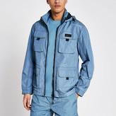 River Island Pastel Tech blue nylon pocket front jacket