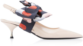 Prada Bow-Detailed Patent-Leather Slingback Pumps