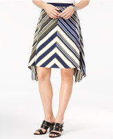 Tommy Hilfiger Chevron-Stripe Handkerchief-Hem Skirt
