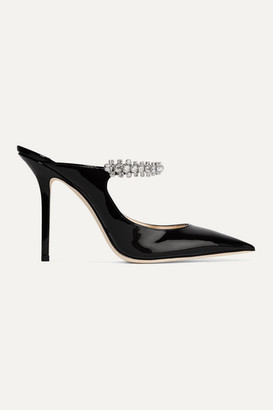 Jimmy Choo Bing 100 Crystal-embellished Patent-leather Mules - Black