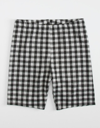 WHITE FAWN Gingham Girls Biker Shorts