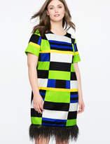 ELOQUII Studio Printed Dress with Feather Hem