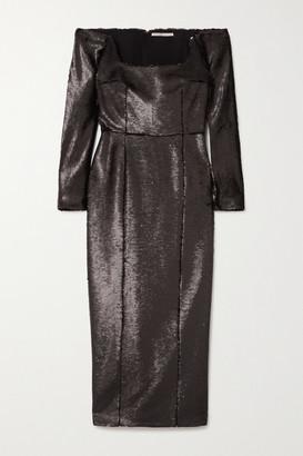 Emilia Wickstead Birch Off-the-shoulder Sequined Crepe Midi Dress - Black
