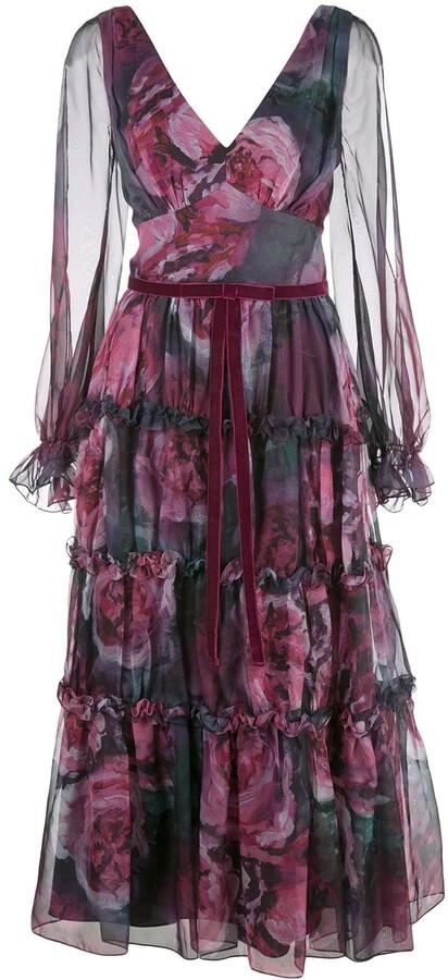 Marchesa floral-print slit-sleeves dress