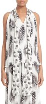 Prabal Gurung Feather Print Tie Neck Pleated Chiffon Blouse