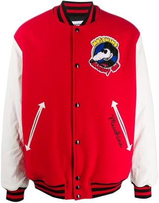 Moschino Mickey Rat patch bomber jacket