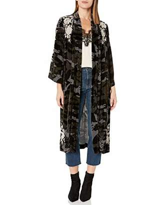 Johnny Was JWLA By Women's Floral Embroidered Velvet Kimono Coat