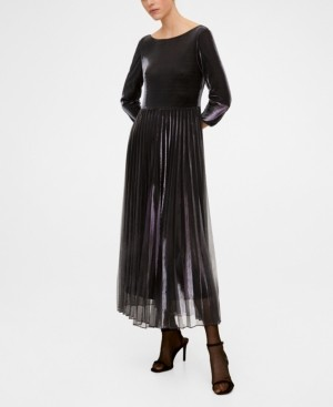 MANGO Metallic Pleated Dress