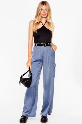 Nasty Gal Womens This is How It Works Satin Utility Pants - Blue