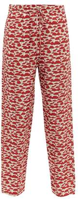 Muzungu Sisters - Fern Mushroom Print Silk Faille Trousers - Womens - Red Multi