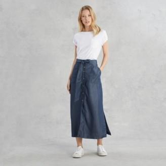 The White Company Button-Front Chambray Skirt , Indigo, 6