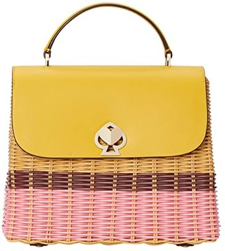 Kate Spade Romy Wicker Medium Top-Handle (Golden Curry) Handbags
