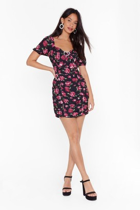 Nasty Gal Womens No Need to Ruche Floral Mini Dress - black - 4