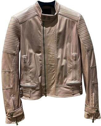 Diesel Black Gold Pink Leather Leather Jacket for Women
