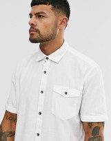 Esprit cotton slub shirt in white