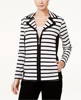 Karen Scott Striped Zippered Active Jacket, Only at Macy's