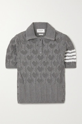 Thom Browne Striped Pointelle And Cable-knit Cotton Polo Shirt - Light gray