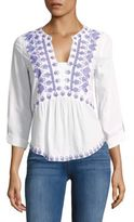 Kas Cotton Split V-Neck Blouse